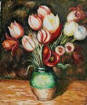 tulips in a vase by pierre auguste renoir paintings