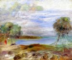 two figures by the water by pierre auguste renoir painting