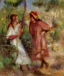 two girls in the garden at montmartre by pierre auguste renoir painting