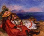 pierre auguste renoir two little girls on the beach paintings-26447