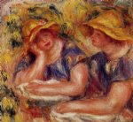 two women in blue blouses by pierre auguste renoir painting