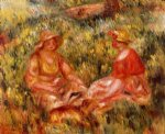 two women in the grass by pierre auguste renoir painting
