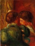 two women s heads by pierre auguste renoir painting
