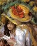 two young girls reading by pierre auguste renoir painting
