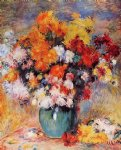 pierre auguste renoir vase of chrysanthemums painting