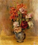pierre auguste renoir vase of gladiolas and roses painting