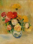 vase of roses and dahlias by pierre auguste renoir painting
