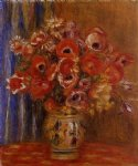 vase of tulips and anemones by pierre auguste renoir painting