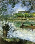boat watercolor paintings - willows and figures in a boat by pierre auguste renoir