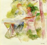 woman and child in a garden by pierre auguste renoir painting
