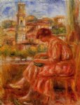 woman at the window with a view of nice by pierre auguste renoir painting