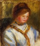 woman in a blue blouse by pierre auguste renoir painting
