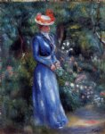 woman in a blue dress standing in the garden of saint by pierre auguste renoir painting