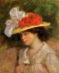 woman in a flowered hat by pierre auguste renoir painting
