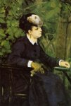 woman in a garden by pierre auguste renoir painting
