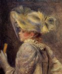 woman in a white hat by pierre auguste renoir painting