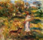 pierre auguste renoir woman in blue and zaza in a landscape painting 26536