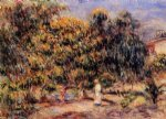 woman in white in the garden at colettes by pierre auguste renoir painting