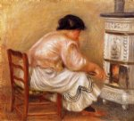pierre auguste renoir woman stoking a stove painting