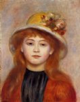 pierre auguste renoir woman wearing a hat painting