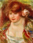 pierre auguste renoir woman wearing a rose painting