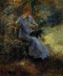 pierre auguste renoir woman with a black dog painting-26554