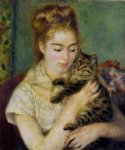 pierre auguste renoir woman with a cat painting