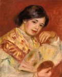 pierre auguste renoir woman with a fan painting