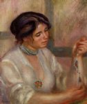 woman with a necklace by pierre auguste renoir painting