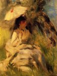 woman with a parasol by pierre auguste renoir painting
