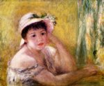 woman with a straw hat by pierre auguste renoir painting