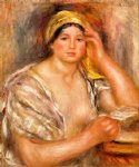 woman with a yellow turban by pierre auguste renoir painting