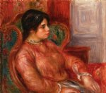woman with green chair by pierre auguste renoir painting