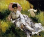 woman with parasol by pierre auguste renoir painting