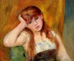 young blond woman by pierre auguste renoir painting