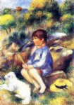 young boy by the river by pierre auguste renoir painting