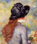 pierre auguste renoir young girl holding at bouquet of tulips painting