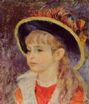 girl original paintings - young girl in a blue hat by pierre auguste renoir