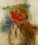 girl original paintings - young girl in a flowered hat by pierre auguste renoir