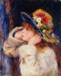 pierre auguste renoir young girl in a hat decorated with wildflowers paintings