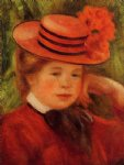 girl original paintings - young girl in a red hat by pierre auguste renoir