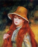 young girl in a straw hat ii by pierre auguste renoir painting