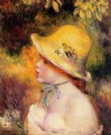 young girl in a straw hat by pierre auguste renoir painting