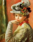 young girl in a white hat ii by pierre auguste renoir painting