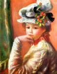 young girl in a white hat by pierre auguste renoir painting