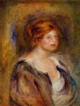 girl original paintings - young girl in blue by pierre auguste renoir