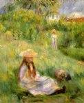 girl original paintings - young girl in the garden at mezy by pierre auguste renoir