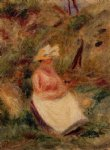 young girl in the woods by pierre auguste renoir painting