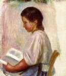 young girl reading ii by pierre auguste renoir painting