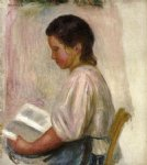 young girl reading by pierre auguste renoir painting